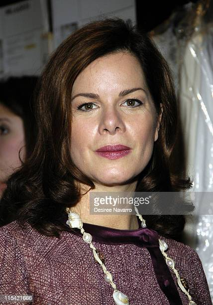 Marcia Gay Harden during Olympus Fashion Week Fall 2006 Peter Som Front Row and Backstage at The Promenade Bryant Park in New York City New York...