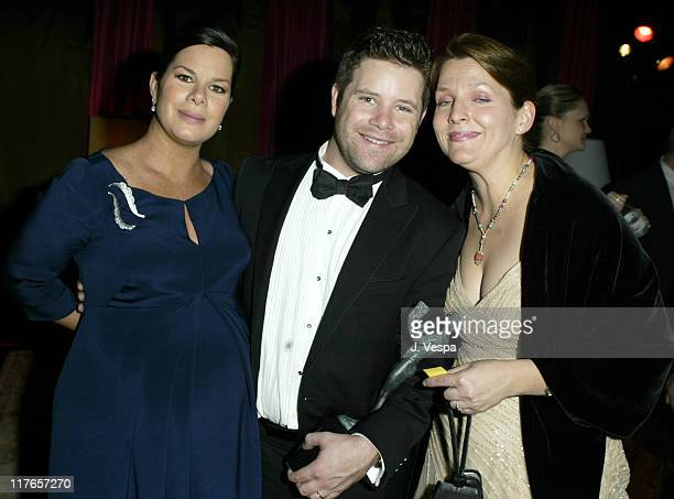 Marcia Gay Harden with Sean Astin and his wife during 2004 Screen Actors Guild Awards Backstage Creations Talent Retreat Day Two at Shrine Auditorium...