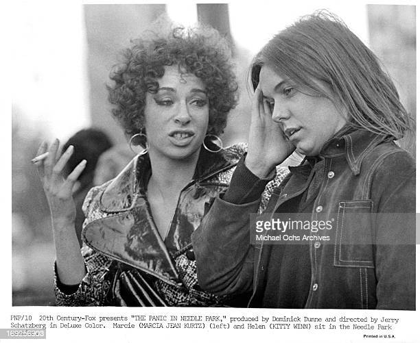 Marcia Jean Kurtz talks with Kitty Winn in a scene from the film 'The Panic In Needle Park' 1971