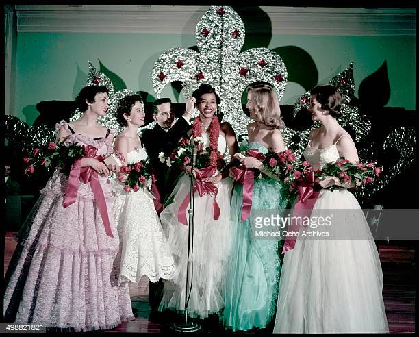 Marcia Koch, Janice Barnes, Jay Ryan Director or SUI Pageant, Dora Lee Martin crowned as Miss State University Queen, Barbara Potts and Dixie...