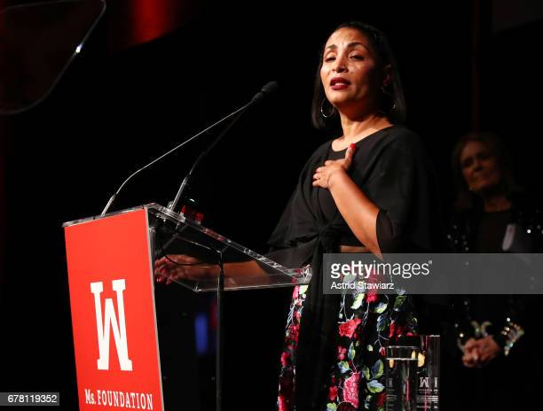 Marcia Olivo speaks onstage at the Ms. Foundation for Women 2017 Gloria Awards Gala & After Party at Capitale on May 3, 2017 in New York City.