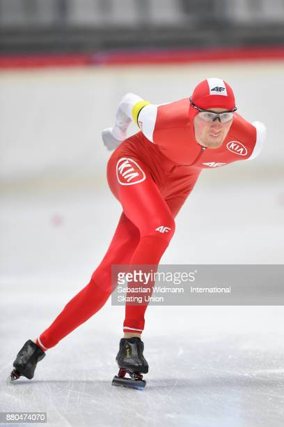 Marcin Bachanek of Poland performs during the Men 1500 Meter at the ISU Neo Senior World Cup Speed Skating at Max Aicher Arena on November 26 2017 in...