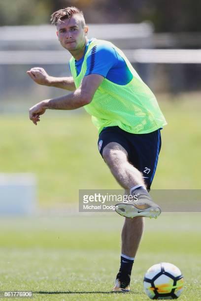 Marcin Budzinski kicks the ball during a Melbourne City ALeague training session on October 16 2017 in Melbourne Australia