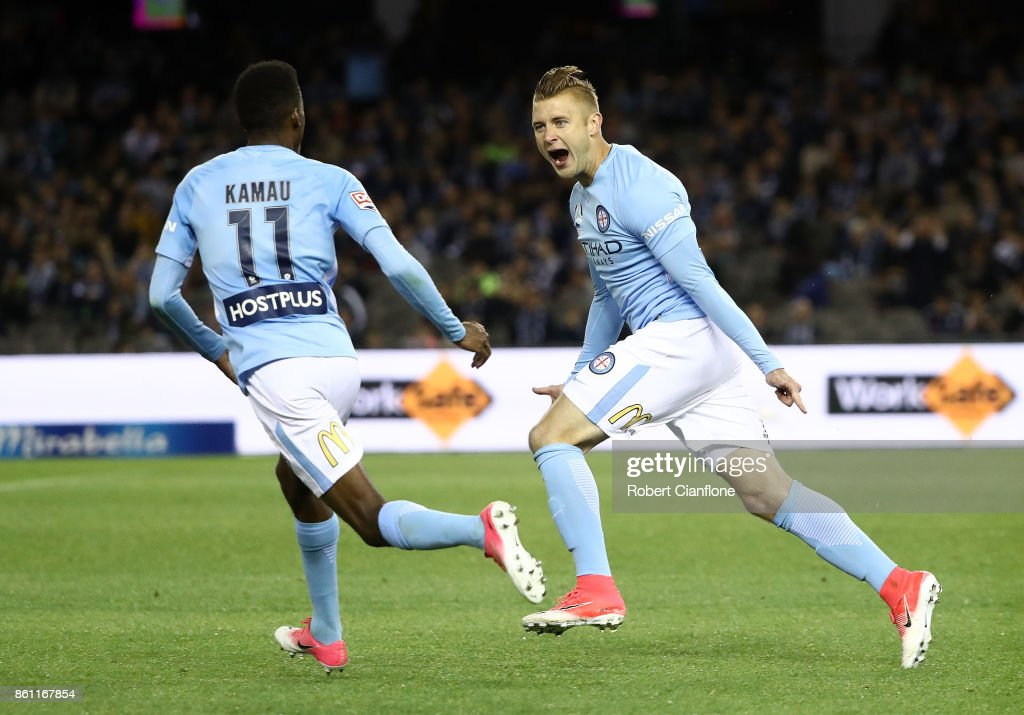 Marcin Budzinski of the City celebrates after scoring a goal during the round two A-League match between Melbourne Victory and Melbourne City FC at Etihad Stadium on October 14, 2017 in Melbourne, Australia.