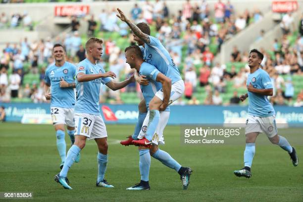 Marcin Budzinski of the City celebrates after scoring a goal during the round 17 ALeague match between Melbourne City and Adelaide united at AAMI...