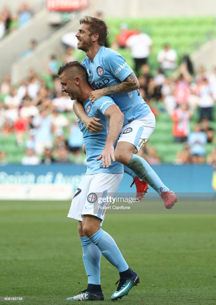 Marcin Budzinski of the City celebrates after scoring a goal during the round 17 A-League match between Melbourne City and Adelaide united at AAMI Park on January 21, 2018 in Melbourne, Australia.