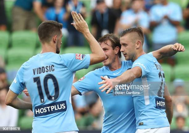 Marcin Budzinski of the City celebrtaes scoring his second goal during the round 17 ALeague match between Melbourne City and Adelaide united at AAMI...