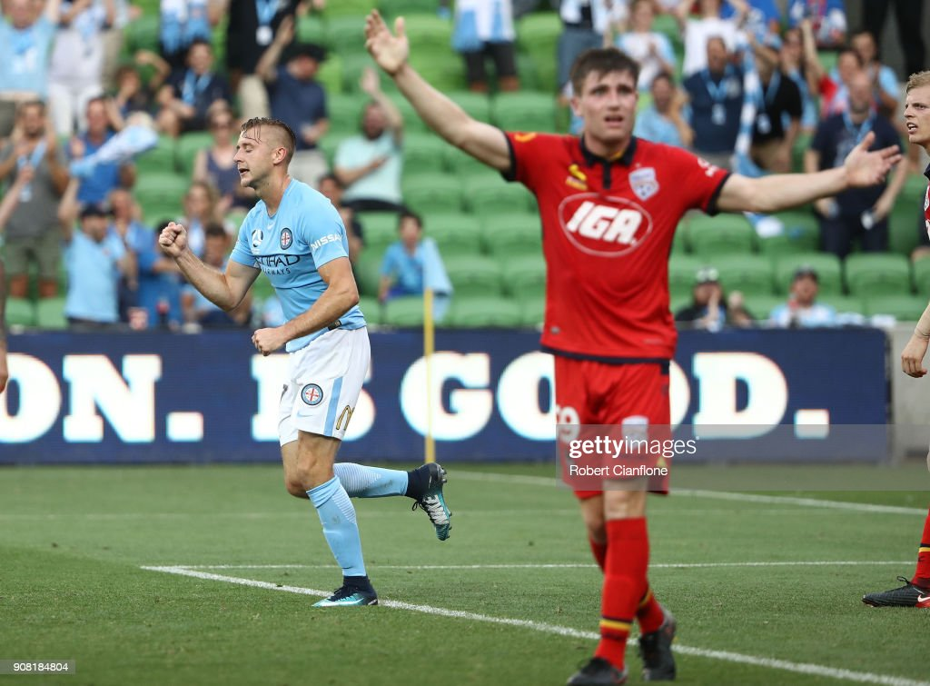 Marcin Budzinski of the City celebrtaes scoring his second goal during the round 17 A-League match between Melbourne City and Adelaide united at AAMI Park on January 21, 2018 in Melbourne, Australia.