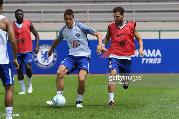 Marcin Bulka and Cesc Fabregas of Chelsea during a training session at Singapore American School on July 24 2017 in Singapore