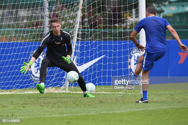 Marcin Bulka of Chelsea during a training session at Singapore American School on July 24 2017 in Singapore