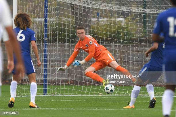 Marcin Bulka of Chelsea during the UEFA Youth League group C match between Chelsea FC U19 and AS Roma U19 at Chelsea Training Ground on October 18...