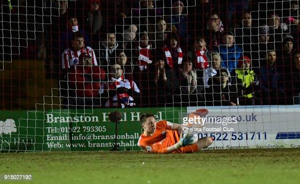 Marcin Bulka of Chelsea makes a save during the Checkatrade Trophy Semi Final match between Lincoln City and Chelsea at Sincil Bank on February 6...