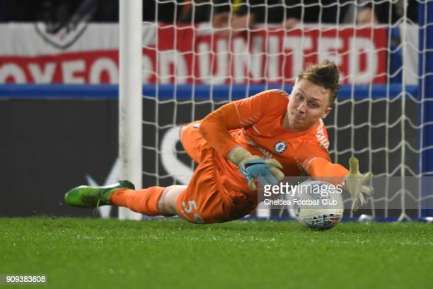 Marcin Bulka of Chelsea makes a save during the Chelsea U21 v Oxford United Checkatrade Trophy QuarterFinal match at Stamford Bridge on January 23...