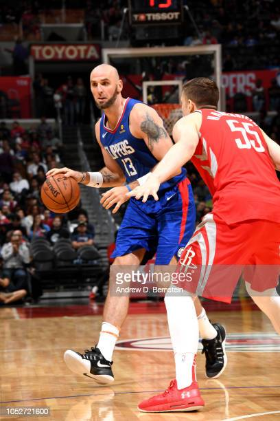 Marcin Gortat of the LA Clippers handles the ball against the Houston Rockets on October 21 2018 at Staples Center in Los Angeles California NOTE TO...