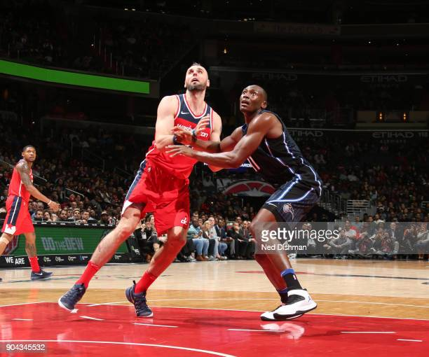 Marcin Gortat of the Washington Wizards and Bismack Biyombo of the Orlando Magic box each other out on January 12 2018 at Capital One Arena in...