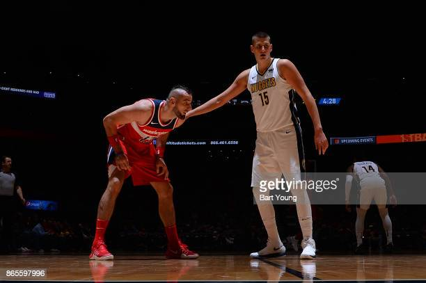 Marcin Gortat of the Washington Wizards and Nikola Jokic of the Denver Nuggets during the game between the Washington Wizards and Denver Nuggets on...