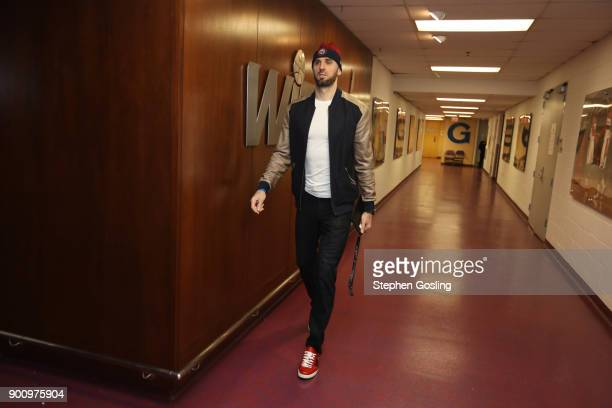 Marcin Gortat of the Washington Wizards arrives before the game against the New York Knicks on January 3 2018 at Capital One Arena in Washington DC...