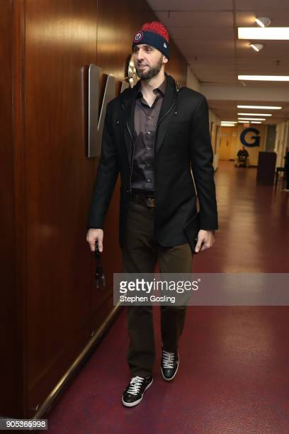 Marcin Gortat of the Washington Wizards arrives to the arena prior to the game against the Milwaukee Bucks on January 15 2018 at Capital One Arena in...