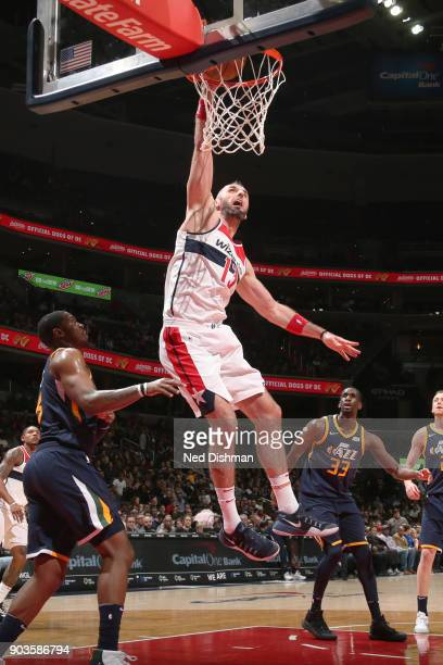 Marcin Gortat of the Washington Wizards dunks the ball against the Utah Jazz on January 10 2018 at Capital One Arena in Washington DC NOTE TO USER...
