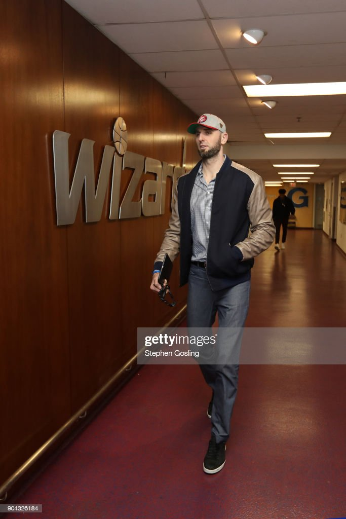 Marcin Gortat #13 of the Washington Wizards enters the arena before the game against the Orlando Magic on January 12, 2018 at Capital One Arena in Washington, DC.