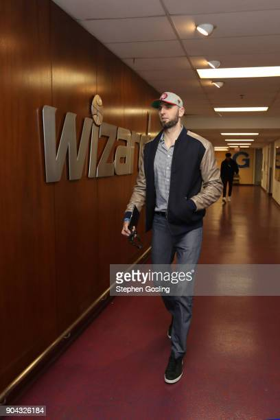 Marcin Gortat of the Washington Wizards enters the arena before the game against the Orlando Magic on January 12 2018 at Capital One Arena in...