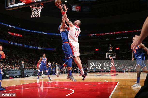 Marcin Gortat of the Washington Wizards handles the ball against the New York Knicks on January 3 2018 at Capital One Arena in Washington DC NOTE TO...