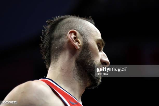 Marcin Gortat of the Washington Wizards looks on against the New Orleans Pelicans at Capital One Arena on December 19 2017 in Washington DC NOTE TO...
