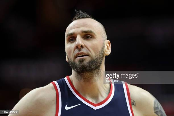 Marcin Gortat of the Washington Wizards looks on against the Orlando Magic in the first half at Capital One Arena on January 12 2018 in Washington DC...