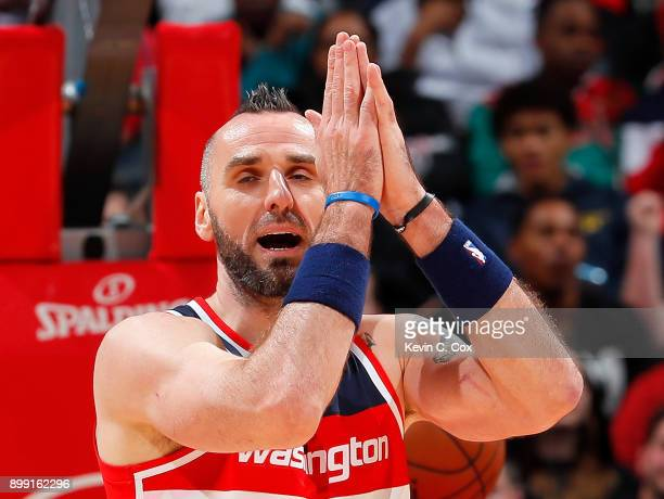 Marcin Gortat of the Washington Wizards reacts during the game against the Atlanta Hawks at Philips Arena on December 27 2017 in Atlanta Georgia NOTE...