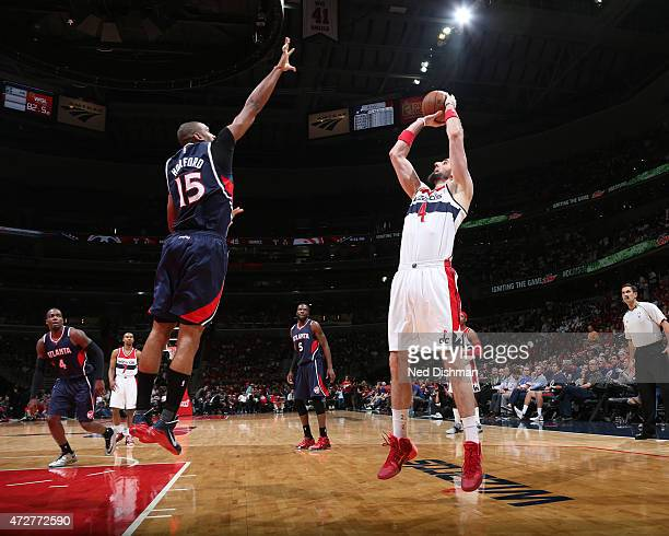 Marcin Gortat of the Washington Wizards takes a shot against the Atlanta Hawks in Game Three of the Eastern Conference Semifinals of the 2015 NBA...