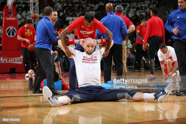 Marcin Gortat of the Washington Wizards warms up before the game against the Atlanta Hawks during the Eastern Conference Quarterfinals of the 2017...