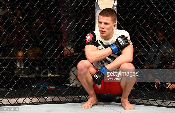 Marcin Held of Poland reacts to his loss to Joe Lauzon in their lightweight bout during the UFC Fight Night event inside Talking Stick Resort Arena...