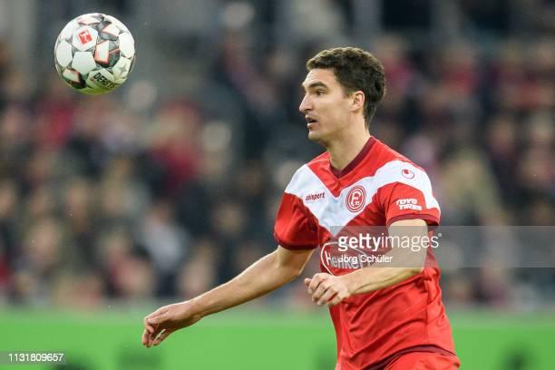 Marcin Kaminski of Fortuna Duesseldorf controls the ball during the Bundesliga match between Fortuna Duesseldorf and 1. FC Nuernberg at the Merkur...