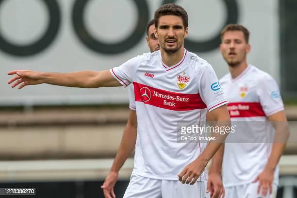Marcin Kaminski of VfB Stuttgart gestures during the pre-season friendly match between VfB Stuttgart and RC Strasbourg Alsace on September 5, 2020 in...