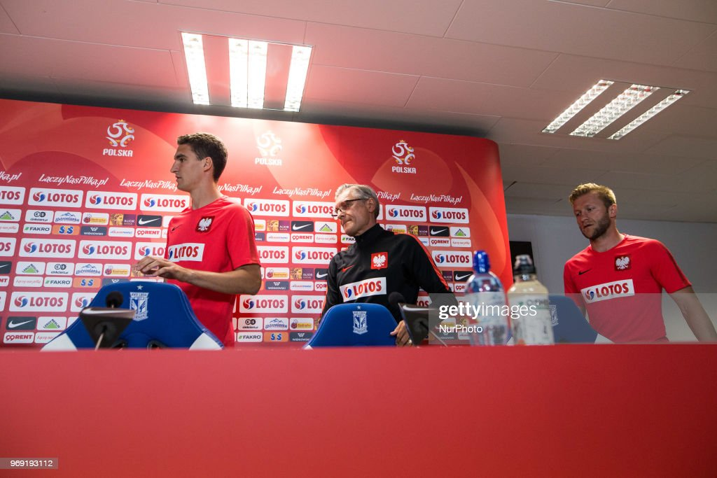 Marcin Kaminski,Adam Nawalka,Jakub Blaszczykowski, during press conference before friendly match Poland and Chile in Poznan, Poland, on 7 June 2018.