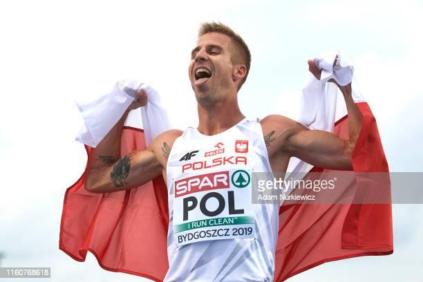 Marcin Lewandowski from Poland celebrates his victory in mens 1500 meters final while European Athletics Team Championships Super League Bydgoszcz...