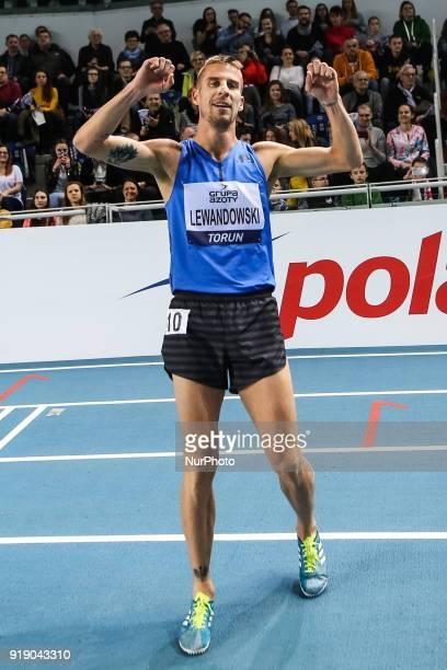 Marcin Lewandowski of Poland celebrates after running the 1500 metres during Copernicus CUP IAAF World Indoor Tour at Torun Poland on 15 February 2018