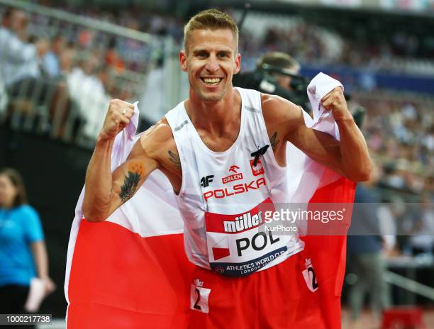 Marcin Lewandowski of Poland celebrates after winning 1500m Men during Athletics World Cup London 2018 at London Stadium London on 15 July 2018