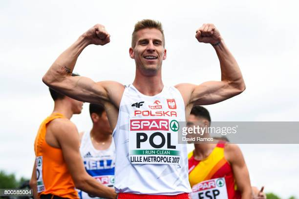 Marcin Lewandowski of Poland celebrates after winning in the Men's 1500m Hurdles Final during day two of the European Athletics Team Championships at...