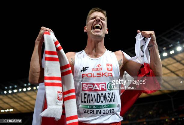 Marcin Lewandowski of Poland celebrates winning Silver in the Men's 1500m Final during day four of the 24th European Athletics Championships at...