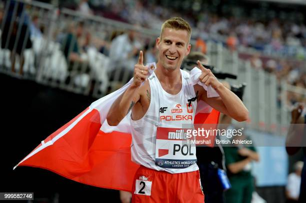 Marcin Lewandowski of Poland celebrates winning the Men's 1500m during day two of the Athletics World Cup London at the London Stadium on July 15...