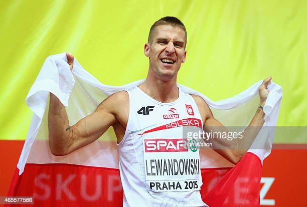 Marcin Lewnadowski of Poland wins gold in the Men's 800 metres Final during day three of the 2015 European Athletics Indoor Championships at O2 Arena...