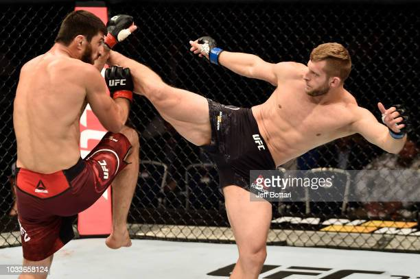 Marcin Prachnio of Poland kicks Magomed Ankalaev of Russia in their light heavyweight bout during the UFC Fight Night event at Olimpiysky Arena on...
