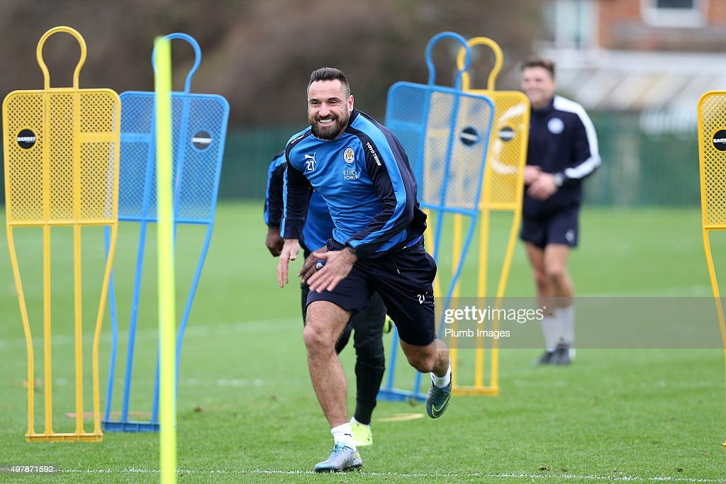 Marcin Wasilewski during the Leicester City training session at Belvoir Drive Training Complex on November 19 , 2015 in Leicester, United Kingdom.
