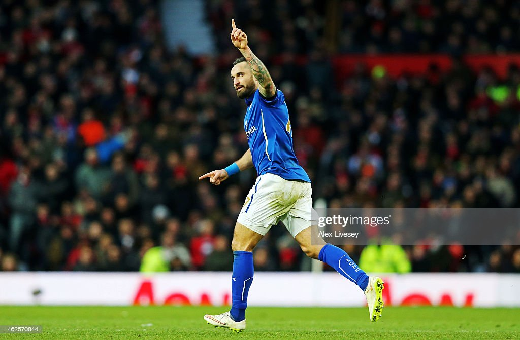 Marcin Wasilewski of Leicester City celebrates after scoring a goal during the Barclays Premier League match between Manchester United and Leicester City at Old Trafford on January 31, 2015 in Manchester, England.