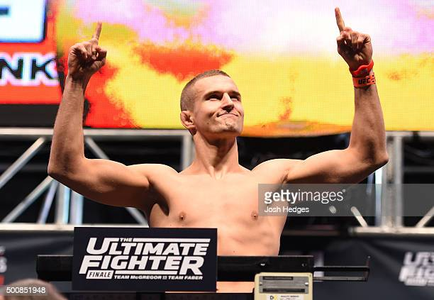 Marcin Wrzosek of Poland weighs in during the UFC weighin inside MGM Grand Garden Arena on December 10 2015 in Las Vegas Nevada