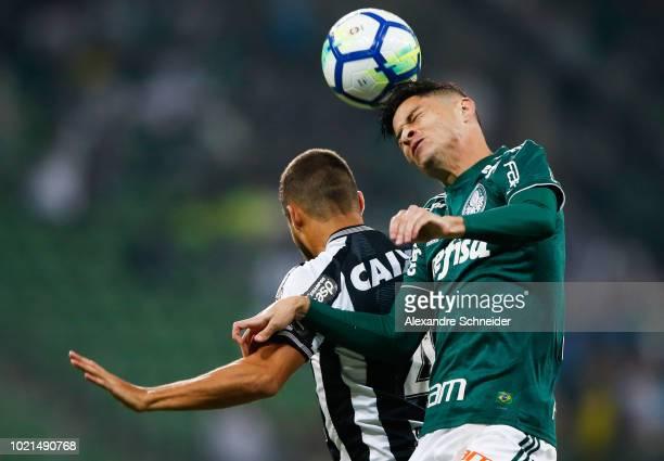 Marcinho of Botafogo and Diogo Barbosa of Palmeiras go for a header during the match for the Brasileirao Series A 2018 at Allianz Parque Stadium on...