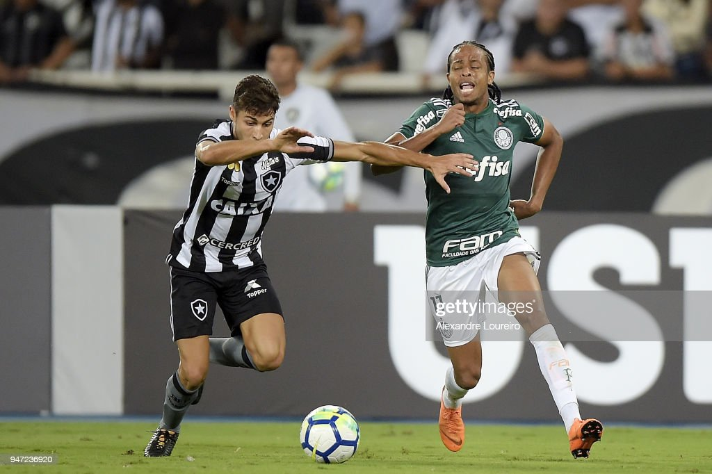 Marcinho (L) of Botafogo struggles for the ball with Kenoof Palmeiras during the match between Botafogo and Palmeiras as part of Brasileirao Series A 2018 at Engenhao Stadium on April 16, 2018 in Rio de Janeiro, Brazil.
