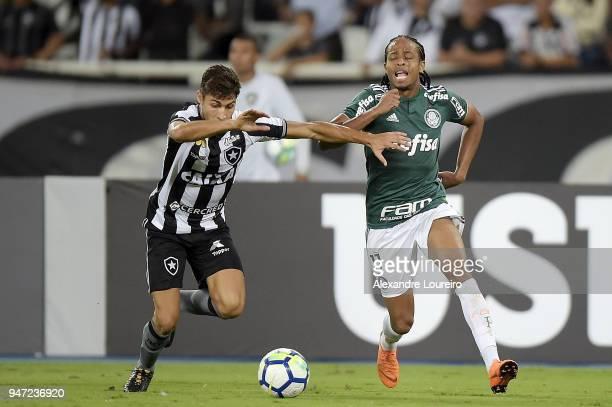 Marcinho of Botafogo struggles for the ball with Kenoof Palmeiras during the match between Botafogo and Palmeiras as part of Brasileirao Series A...