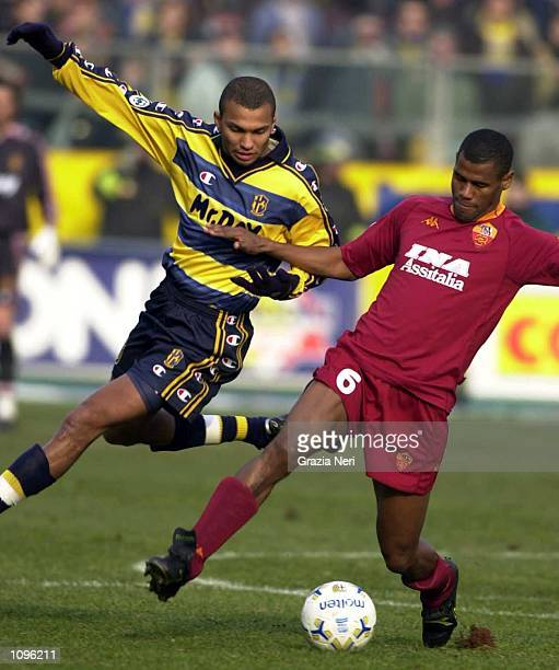 Marcio Amoroso of Parma and Aldair of Roma in action during the SERIE A 17th Round League match between Parma and Roma played at the Ennio Tardini...